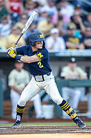 Michigan Wolverines shortstop Jack Blomgren (2) at bat against the Vanderbilt Commodores during Game 3 of the NCAA College World Series Finals on June 26, 2019 at TD Ameritrade Park in Omaha, Nebraska. Vanderbilt defeated Michigan 8-2 to win the National Championship. (Andrew Woolley/Four Seam Images)