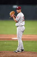 Mahoning Valley Scrappers pitcher J.P. Feyereisen (28) gets ready to deliver a pitch during a game against the Batavia Muckdogs on June 21, 2014 at Dwyer Stadium in Batavia, New York.  Batavia defeated Mahoning Valley 10-6.  (Mike Janes/Four Seam Images)
