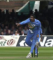 .29/06/2002.Sport - Cricket - .NatWest triangler Series England - Sri Lanka - India.England vs india 50 overs.  Lord's ground.England batting - Anil kumble bowling...