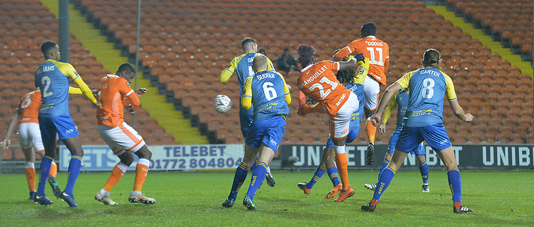 Blackpool's Armand Gnanduillet scores his team's opening goal<br /> <br /> Photographer Dave Howarth/CameraSport<br /> <br /> The Emirates FA Cup Second Round Replay - Blackpool v Solihull Moors - Tuesday 18th December 2018 - Bloomfield Road - Blackpool<br />  <br /> World Copyright © 2018 CameraSport. All rights reserved. 43 Linden Ave. Countesthorpe. Leicester. England. LE8 5PG - Tel: +44 (0) 116 277 4147 - admin@camerasport.com - www.camerasport.com