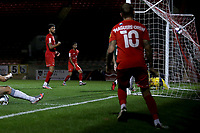 Louis Dennis of Leyton Orient scores the first goal for his team during Leyton Orient vs Plymouth Argyle, Caraboa Cup Football at The Breyer Group Stadium on 15th September 2020