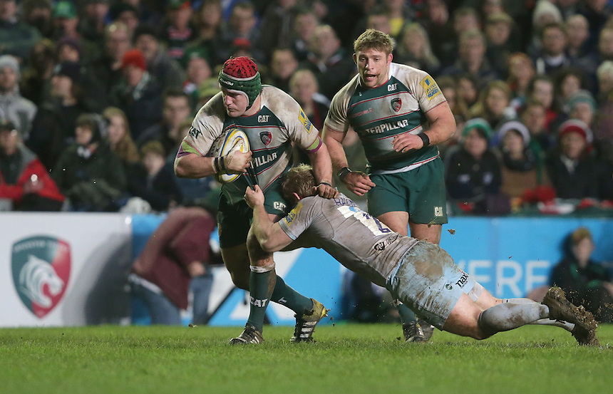 Leicester Tigers' Sebastian de Chaves is tackled by Northampton Saints' Mikey Haywood<br /> <br /> Photographer Rachel Holborn/CameraSport<br /> <br /> Rugby Union - Aviva Premiership Round 9 - Leicester Tigers v Northampton Saints - Saturday 9th January 2016 - Welford Road - Leicester<br /> <br /> &copy; CameraSport - 43 Linden Ave. Countesthorpe. Leicester. England. LE8 5PG - Tel: +44 (0) 116 277 4147 - admin@camerasport.com - www.camerasport.com