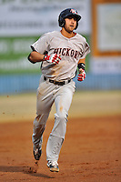 Hickory Crawdads third baseman Joey Gallo #30 rounds the bases after hitting a home run during a game against the Asheville Tourists at McCormick Field on April 15, 2013 in Asheville, North Carolina. The Crawdads won the game 6-3. (Tony Farlow/Four Seam Images via AP Images).