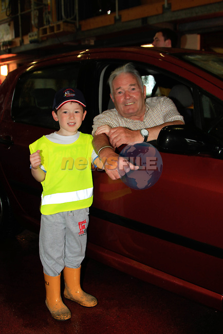 "Jimmy Shevlin and his grandson Rhys during the ""Car Wash"" in aid of the Clogherhead RNLI Lifeboat on Saturday 12th July 2014.Picture: Thos Caffrey / www.newsfile.ie"