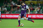 9th January 2018, nib Stadium, Perth, Australia; A League football, Perth Glory versus Melbourne City; Alex Grant of the Perth Glory passes the ball upfield during the second half