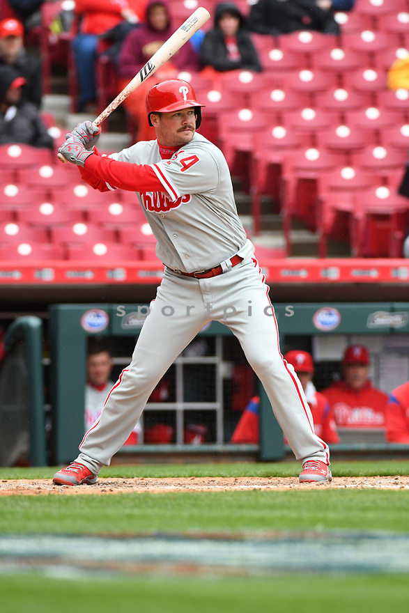 Philadelphia Phillies Andrew Knapp (34) during a game against the Cincinnati Reds on April 6, 2017 at Great American Ballpark in Cincinnati, OH. The Reds beat the Phillies 4-7.