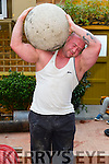 Pictured at the Duagh parish festival on Saturday was Irelands Strongest Man Patrick O'Dwyer who is pictured here lifting a 25 Stone concrete ball onto his shoulder in Jim's Bar Daugh.