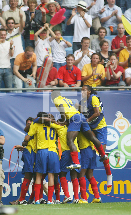 Ecuador players celebrate after their goal. Ecuador defeated Costa Rica 3-0 in their FIFA World Cup Group A match at FIFA World Cup Stadium, Hamburg, Germany, June 15, 2006.