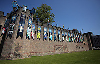 Pictured: A blue dragon, the trophy and a series of UEFA banners draped outside Cardiff Castle Thursday 25 May 2017<br />Re: Preparations for the UEFA Champions League final, between Real Madrid and Juventus in Cardiff, Wales, UK.