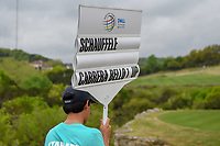 The sign carrier follows Rafael Cabrera Bello (ESP) down 2 during day 3 of the WGC Dell Match Play, at the Austin Country Club, Austin, Texas, USA. 3/29/2019.<br /> Picture: Golffile | Ken Murray<br /> <br /> <br /> All photo usage must carry mandatory copyright credit (© Golffile | Ken Murray)