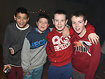 Ross Fitzsimons, Adam Farrell, Michael O'Connor and Craig Cummins pictured at the Collon children's Christmas Disco. Photo:Colin Bell/pressphotos.ie