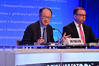 Washington, DC - April 19, 2018: World Bank Group President Jim Yong Kim, left, holds a press briefing during the Spring Meetings of the International Monetary Fund/World Bank Group in Washington, DC April 19, 2018.  (Photo by Don Baxter/Media Images International)