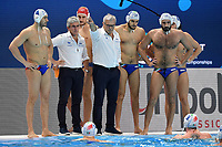 POMILIO Amedeo, CAMPAGNA Alessandro coach of Italy  Time out <br /> Budapest 26/01/2020 Duna Arena <br /> ITALY (white caps) Vs. SERBIA (blue caps) Men <br /> Final 5th - 6th place <br /> XXXIV LEN European Water Polo Championships 2020<br /> Photo  © Andrea Staccioli / Deepbluemedia / Insidefoto