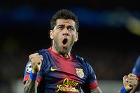 FUSSBALL  CHAMPIONS LEAGUE  ACHTELFINALE  RUECKSPIEL  2012/2013      FC Barcelona  - AC Mailand      13.03.2013 JUBEL; Daniel Alves (Barca)