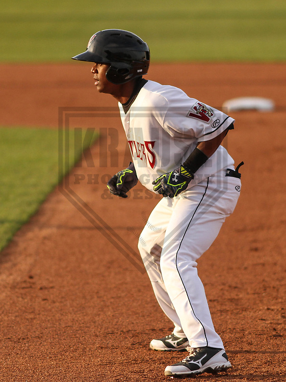 Wisconsin Timber Rattlers second baseman Gregory Munoz (7) during a game against the Cedar Rapids Kernels on May 4th, 2015 at Fox Cities Stadium in Appleton, Wisconsin.  Cedar Rapids defeated Wisconsin 9-3.  (Brad Krause/Krause Sports Photography)