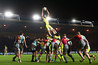 Bryn Evans of Sale Sharks wins the ball at a lineout. Aviva Premiership match, between Harlequins and Sale Sharks on October 6, 2017 at the Twickenham Stoop in London, England. Photo by: Patrick Khachfe / JMP
