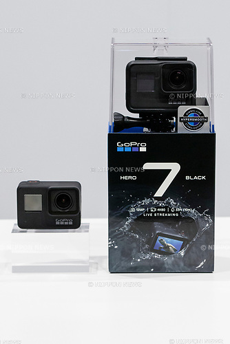 GoPro Hero 7 Black camera is seen during the presentation of company's new products on September 25, 2018, Tokyo, Japan. The new Hero 7 Black is being promoted as a gimbal killer with its new HyperSmooth filming feature. The top of the range Black model will cost JPY 53,460 in Japan and there are two cheaper Silver and White versions which will be released at the same time. (Photo by Rodrigo Reyes Marin/AFLO)