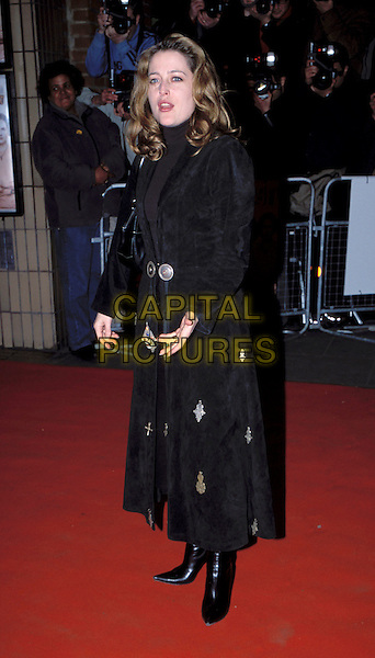 GILLIAN ANDERSON.The Hours Charity Film Premiere at Chelsea Cinema, London, UK..February 10th, 2003.full length black  coat.www.capitalpictures.com.sales@capitalpictures.com.©Adam Houghton/Capital Pictures