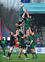 Alistair Hargreaves of Saracens competes with Nic Rouse of London Irish for the ball at a lineout. Aviva Premiership match, between Saracens and London Irish on January 3, 2015 at Allianz Park in London, England. Photo by: Patrick Khachfe / JMP