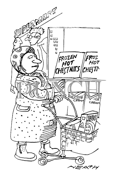 (A woman buys frozen hot chestnuts at a supermarket)