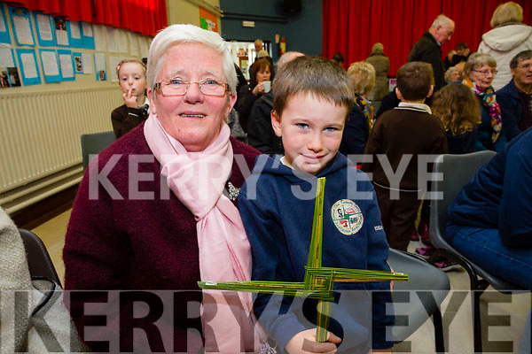 Angela Walsh with grandson Robert Walsh at the Gaeilscoil Mich Easmann Grandparents Day and Blessings of St. Bridgets Crosses on Monday