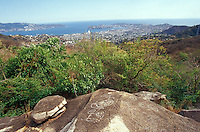 Pre-Columbian petroglyph with the city of Acapulco in the background, Palma Sola archaeological site, Acapulco, Mexico
