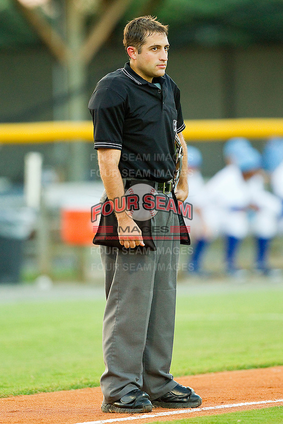 Home plate umpire Stephen Linebarger between innings of the Appalachian League game between the Bristol White Sox and the Burlington Royals at Burlington Athletic Park on July 9, 2011 in Burlington, North Carolina.  The Royals defeated the White Sox 3-2.   (Brian Westerholt / Four Seam Images)