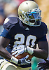 April 21, 2012:  Notre Dame Fighting Irish running back Cierre Wood (20) runs the ball in action during the Notre Dame Blue-Gold Spring game at Notre Dame Stadium in South Bend, Indiana.  The Defense topped the Offense by a score of 42-31.