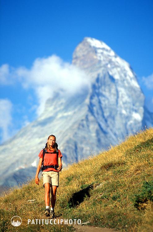 Keri Hipp hiking on the Panoramaweg above Zermatt, Switzerland. The Matterhorn is in the background