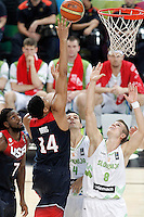 Slovenia's Edo Muric (r) and USA's Anthony Davis during 2014 FIBA Basketball World Cup Quarter-Finals match.September 9,2014.(ALTERPHOTOS/Acero)
