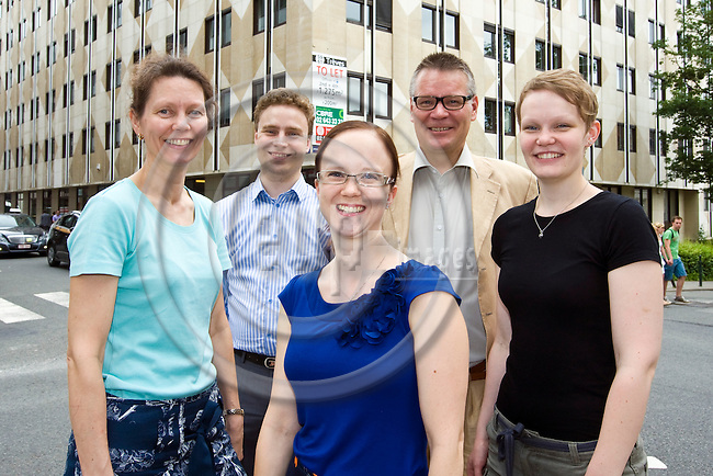 BRUSSELS - BELGIUM - 18 June 2013 -- The staff of MTK Brussels office (f. left)  Maarit Holma, Assistant; Niklas Holmberg, Correspondent for Maaseudun Tulevaisuus; Marjukka Manninen, Dairy and Livestock Advisor; Simo Tiainen, Director of MTK's Brussels Office and Hanna Helander, Trainee from MTK. -- PHOTO: Juha ROININEN /  EUP-IMAGES