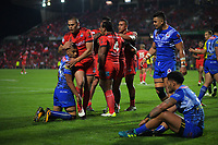 Action from 2017 Rugby League World Cup match between the Toa Samoa and Mate Ma'a Tonga at the FMG Stadium in Hamilton, New Zealand on Saturday, 4 November 2017. Photo: Dave Lintott / lintottphoto.co.nz