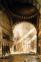 Hagia Sophia:  In 1846--before the restoration.  Engraving by Gaspare & Giuseppe Fossati, the Swiss Architects who undertook the assignment.