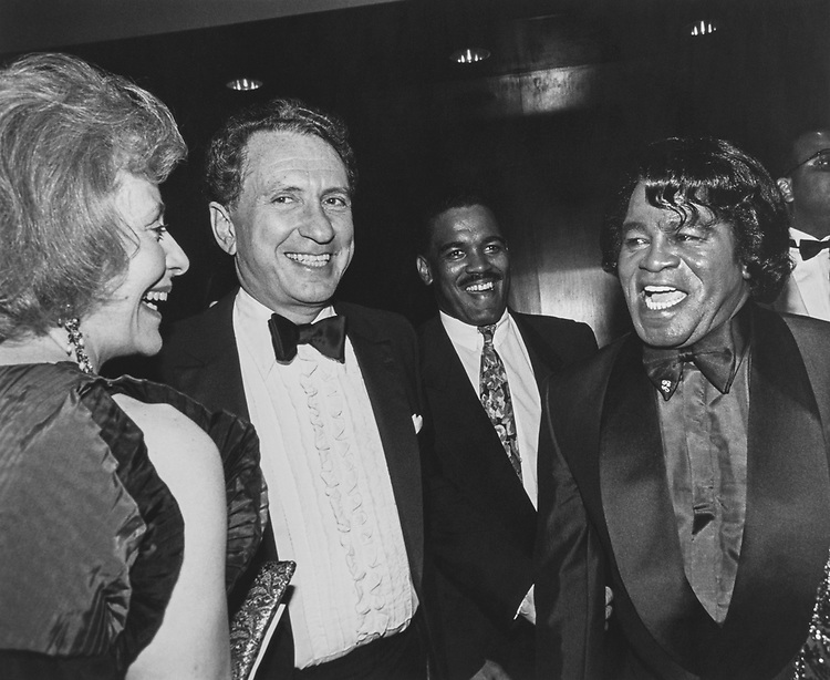 Mrs. and Sen. Arlen Specter, R-Pa., and singer James Brown at the 90th birthday party for Sen. Strom Thurmond at J W Marriott on March 9, 1993. (Photo by Maureen Keating/CQ Roll Call via Getty Images)