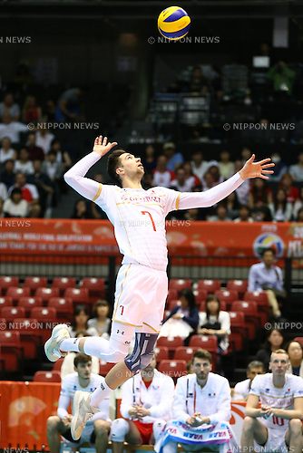 Kevin Tillie (FRA),<br /> MAY 29, 2016 - Volleyball :<br /> Men's Volleyball World Final Qualification for the Rio de Janeiro Olympics 2016<br /> match between France 2-3 Poland<br /> at Tokyo Metropolitan Gymnasium, Tokyo, Japan.<br /> (Photo by Shingo Ito/AFLO SPORT)