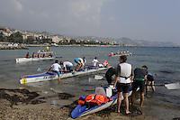 San Remo, ITALY,  Sat.  Crews boating for the B finals. at the FISA Coastal World Championships. Saturday 18/10/2008.[Photo, Peter Spurrier/Intersport-images] Coastal Rowing Course: San Remo Beach, San Remo, ITALY Equipment,