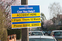 Sign put up by the police at the site of a recent car accident asking for help from the public.