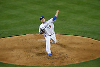 Hyun-Jin Ryu #99 of the Los Angeles Dodgers pitches against the Colorado Rockies at Dodger Stadium on April 30, 2013 in Los Angeles, California. (Larry Goren/Four Seam Images)