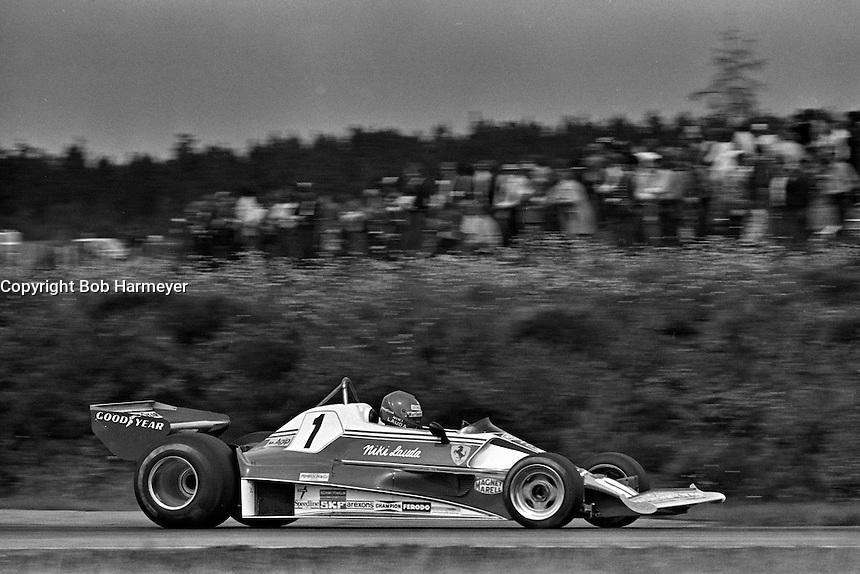 ANDERSTORP, SWEDEN - JUNE 13: Niki Lauda of Austria drives his Ferrari 312T2 026/Ferrari 015 during the Grand Prix of Sweden FIA Formula 1 race at Scandinavian Raceway near Anterstorp, Sweden, on June 13, 1976.