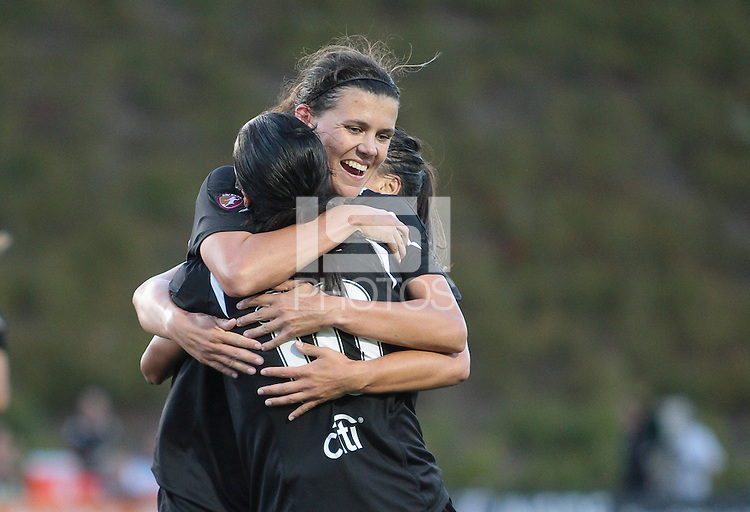 Christine Sinclair celebrates with Marta and Ali Riley. Regular season champions, FC Gold Pride defeated the Philadelphia Independence 4-1 at Pioneer Stadium in Hayward, California on September 11th, 2010.