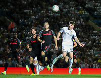 Leeds United's Leif Davis goes close with a header<br /> <br /> Photographer Alex Dodd/CameraSport<br /> <br /> The Carabao Cup Second Round- Leeds United v Stoke City - Tuesday 27th August 2019  - Elland Road - Leeds<br />  <br /> World Copyright © 2019 CameraSport. All rights reserved. 43 Linden Ave. Countesthorpe. Leicester. England. LE8 5PG - Tel: +44 (0) 116 277 4147 - admin@camerasport.com - www.camerasport.com