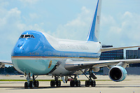 SMG_President Barack Obama_FLXX_Arrival_092012_05.JPG<br /> <br /> MIAMI, FL - SEPTEMBER 20: US President Barack Obama can't open his eyes in the bright Florida sun as he arrives on Air Force One on a hot sunny Florida day at Miami International Airport.  The  President is in Florida to participate in a taping for Univision in Miami before attending a campaign event in Tampa.  on September 20, 2012 in Miami, Florida. (Photo By Storms Media Group)  <br /> <br /> People:  President Barack Obama<br /> <br /> Transmission Ref:  FLXX<br /> <br /> Must call if interested<br /> Michael Storms<br /> Storms Media Group Inc.<br /> 305-632-3400 - Cell<br /> 305-513-5783 - Fax<br /> MikeStorm@aol.com
