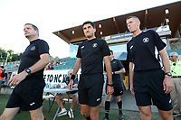 Cary, North Carolina  - Saturday August 05, 2017: Match officials Benjamin Wooten, Elvis Osmanovic, and John Krill prior to a regular season National Women's Soccer League (NWSL) match between the North Carolina Courage and the Seattle Reign FC at Sahlen's Stadium at WakeMed Soccer Park. The Courage won the game 1-0.