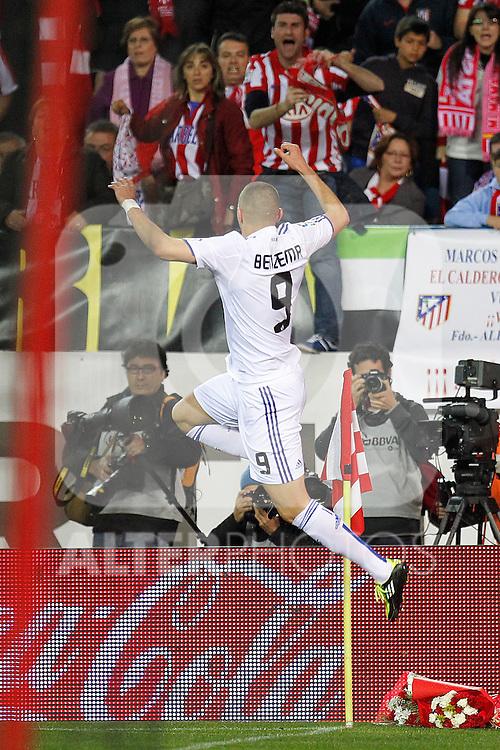 Real Mdrid's Karim Benzema goal during la Liga match on 19 march 2011...Photo: Cebolla Cid-Fuentes / ALFAQUI