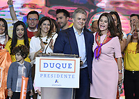 BOGOTA - COLOMBIA, 27-05-2018: Ivan Duque, candidato presidencial por le partido Centro Democrático y su formula vecepresidelcial, Martha Lucia Ramirez, durante su alocución al ganar en la jornada electoral hoy, 27 de mayo de 2018. Las elecciones presidenciales de Colombia de 2018 se celebrarán el domingo 27 de mayo de 2018. El candidato ganador gobernará por un periodo máximo de 4 años fijado entre el 7 de agosto de 2018 y el 7 de agosto de 2022. / Ivan Duque, presidential candidate for the Centro Democratico party, during his speech with his vicepresidential formula, Martha Lucia Ramirez,  after winning on the election day today, May 27, 2018. Colombia's 2018 presidential election will be held on Sunday, May 27, 2018. The winning candidate will govern for a maximum period of 4 years fixed between August 7, 2018 and August 7, 2022.. Photo: VizzorImage / Gabriel Aponte / Staff
