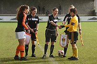 20200226 – KALMTHOUT , BELGIUM : Belgian Fleur Pauwels (6) (R) and Dutch Emmeke Henschen (5)(L) pictured during a friendly soccer game between the national youth Women Under 17 teams of Belgium and The Netherlands , a friendly football game in preparation for the UEFA Elite rounds in March in Belgium for the Belgian team , Wednesday 26 th February 2020 at the Heikant sportpark in Kalmthout , Belgium . PHOTO SPORTPIX.BE | DIRK VUYLSTEKE