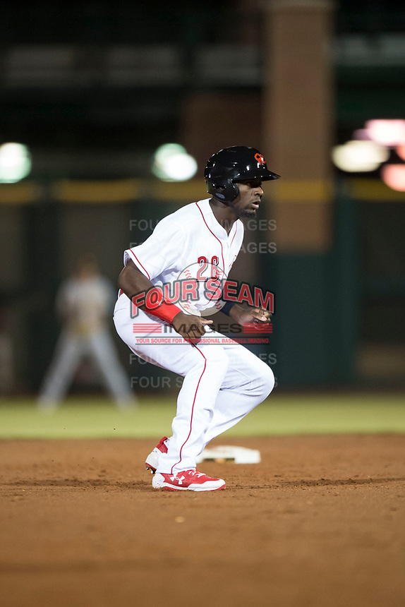 Scottsdale Scorpions left fielder Taylor Trammell (26), of the Cincinnati Reds organization, leads off second base during an Arizona Fall League game against the Mesa Solar Sox on October 9, 2018 at Scottsdale Stadium in Scottsdale, Arizona. The Solar Sox defeated the Scorpions 4-3. (Zachary Lucy/Four Seam Images)