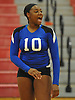 Shelter Island No. 10 Amira Lawrence reacts as her team closes in on victory over Pierson in the Suffolk County varsity girls' volleyball Class D final at Suffolk Community College Grant Campus on Monday, November 9, 2015. Shelter Island won 25-9, 25-4, 25-13.