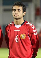 Ararat Yeganyan in the Scotland v Armenia UEFA European Under-19 Championship Qualifying Round match at New Douglas Park, Hamilton on 9.10.12.