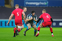 Morgan Morris of Ospreys in action during the Heineken Champions Cup Round 5 match between the Ospreys and Saracens at the Liberty Stadium in Swansea, Wales, UK. Saturday January 11 2020.